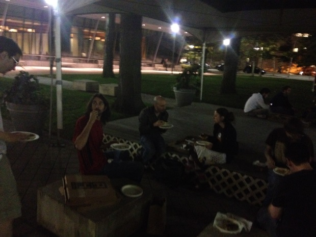 Pre-gaming with an indie dev pizza party on the lawn!